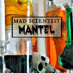 Use assorted jars and vases to create a mad scientist mantel for Halloween. A really cool and scary Halloween decoration idea thats an easy DIY via firsthomelovelife.com
