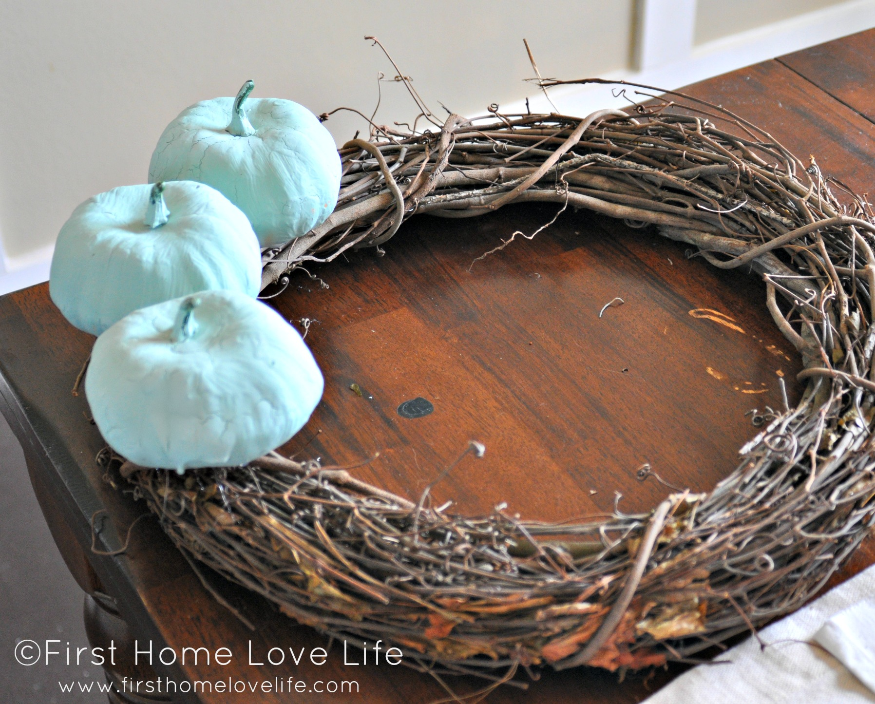 Blue Pumpkin And Moss Fall Wreath First Home Love Life