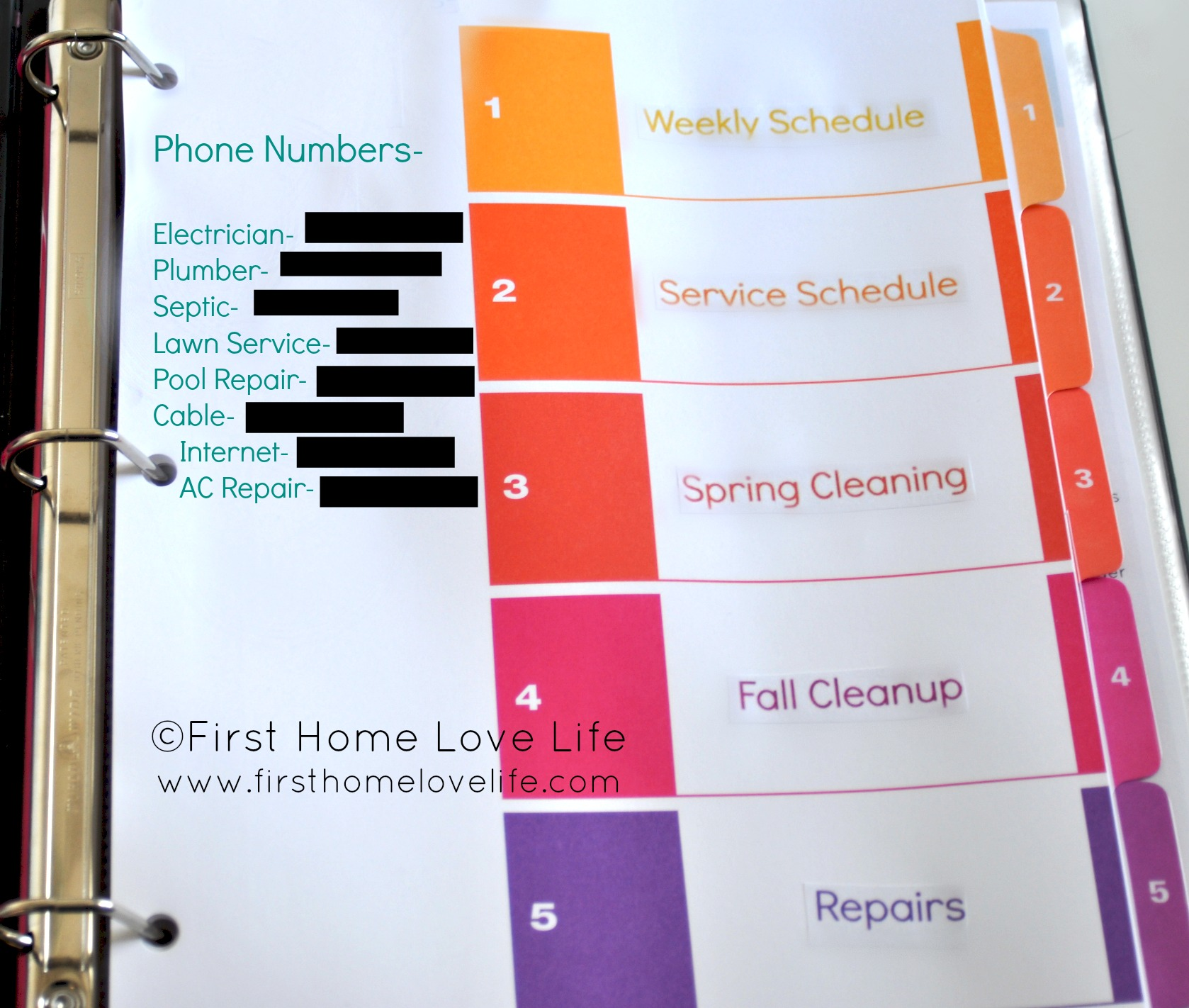 Learning To Be Organized Home Maintenance Binder First