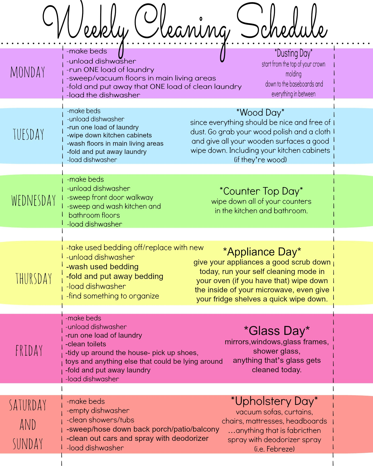My Quirky Weekly Cleaning Chart Free Printable First Home