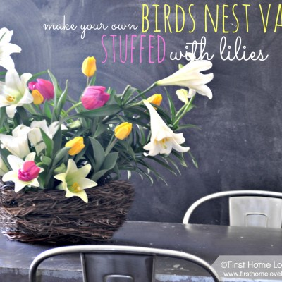 Springtime Birds Nest Vase {tutorial} Overflowing with Lilies