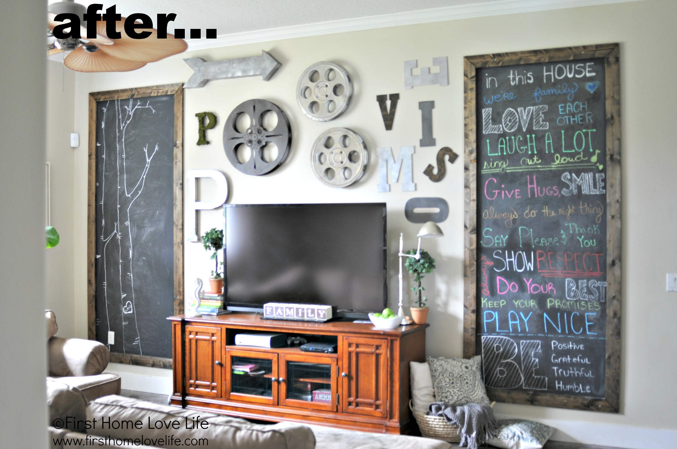 Industrial Style Family Room Gallery Wall With Chalkboard Art First Home Love Life