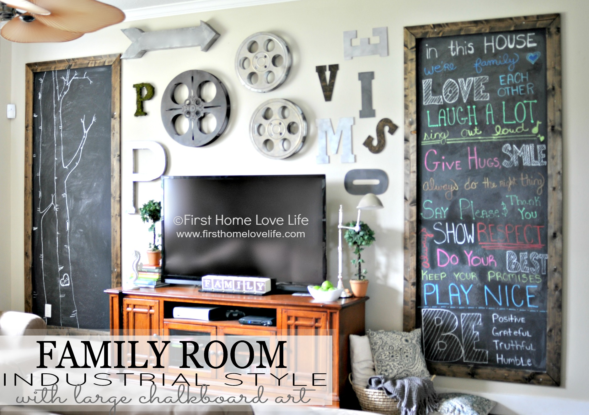 Industrial Wall Decor Ideas : Industrial style family room gallery wall with chalkboard
