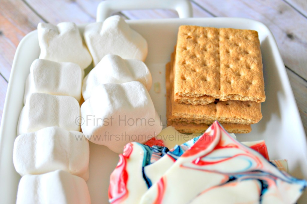 "A patriotic spin on a classic summer treat. Imagine what a hit these red, white, and blue ""firecracker"" s'mores will be at your neighborhood block party!"