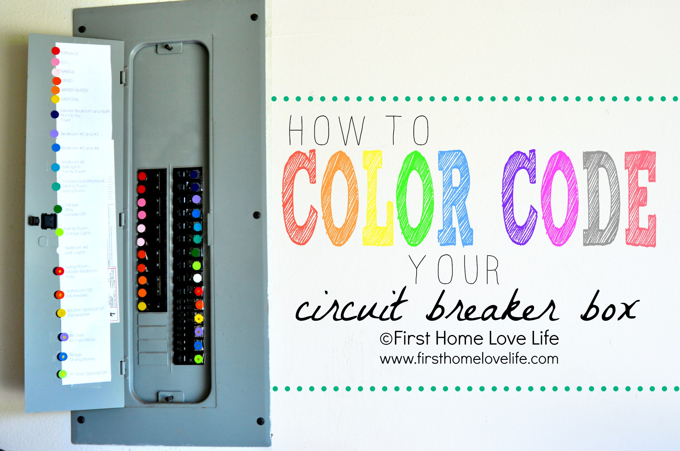 Color Coding Your Circuit Breaker Box First Home Love Life Old Fashion Fuse Coded Cover