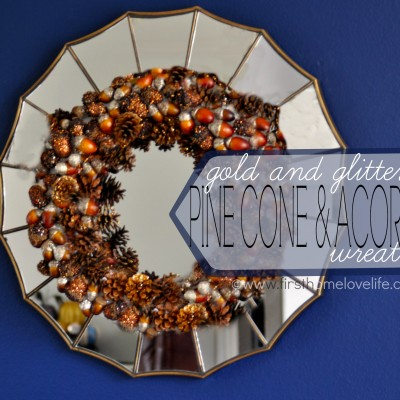 Gold-Glitter Pinecone and Acorn Fall Wreath