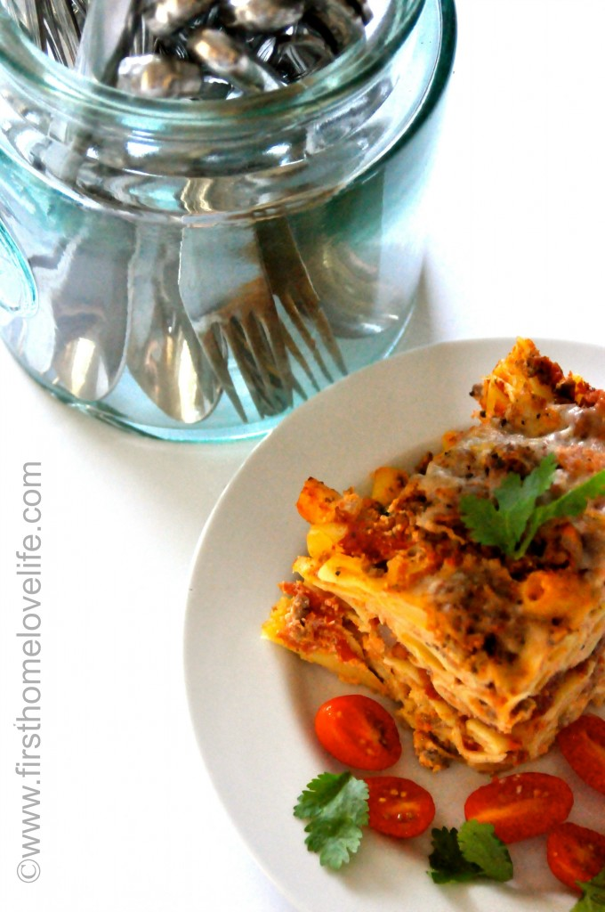 MEATY BAKED ZITI via www.firsthomelovelife.com