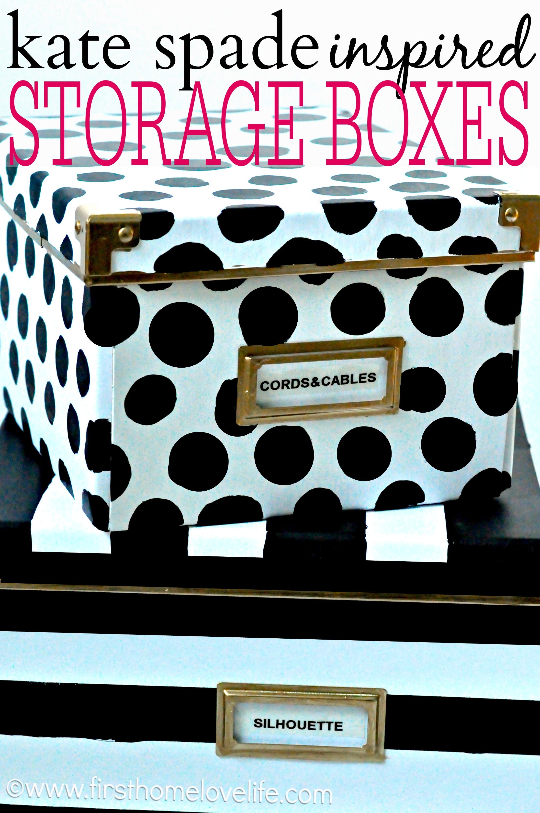 kate spade inspired storage boxes first home love life. Black Bedroom Furniture Sets. Home Design Ideas