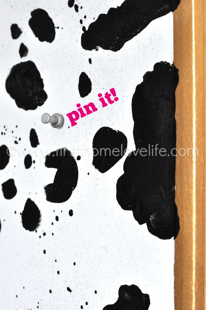 Turn a plain' ol brown bulletin board into a work of art! DIY some Dalmatian spot print art with paint!
