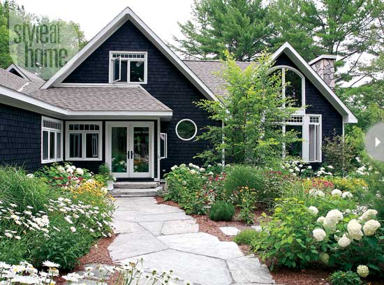 cottage exterior charcoal gray white trim