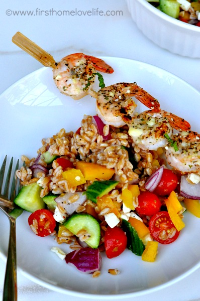 farro and shrimp