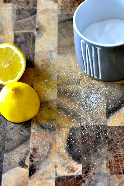 how to clean a cutting board with lemon and salt