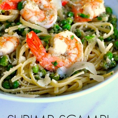 Shrimp Scampi with Peas