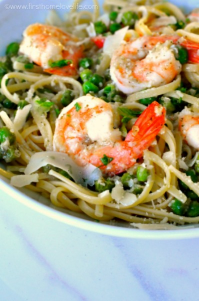 shrimp scampi with peas recipe