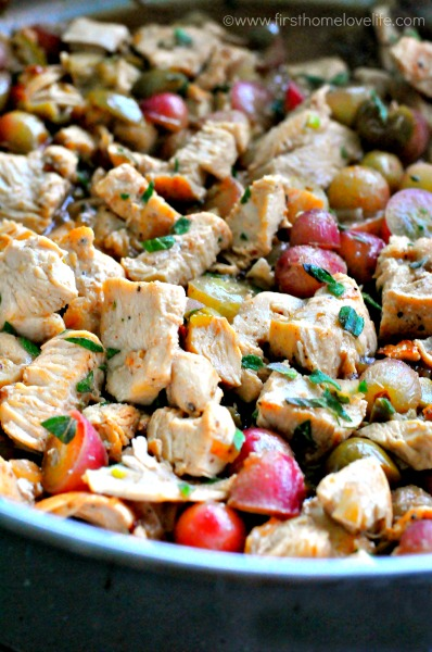 diced chicken and grapes