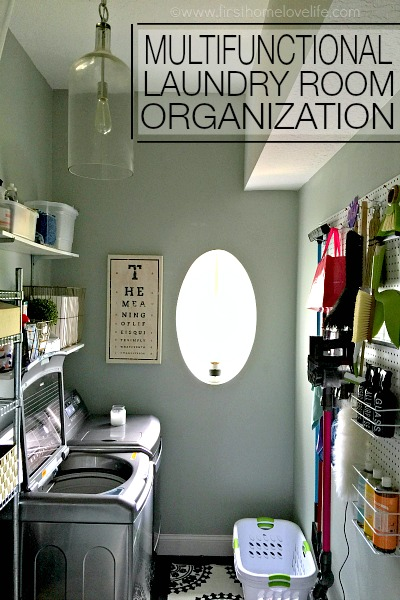 multifunctional laundry room organization via www.firsthomelovelife.com