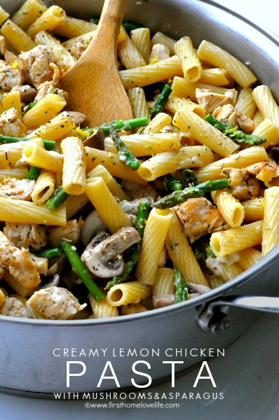 Creamy lemon chicken pasta with mushrooms and asparagus via www.firsthomelovelife.com