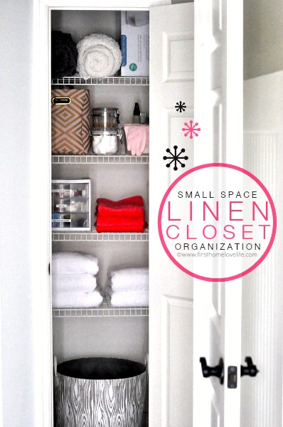 SMALL SPACE LINEN CLOSET ORGANIZATION FROM WWW.FIRSTHOMELOVELIFE.COM