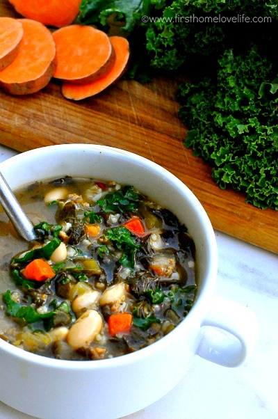 turkey sausage and kale soup via  firsthomelovelife.com