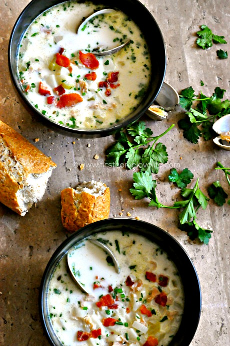 delicious clam chowder recipe from firsthomelovelife.com