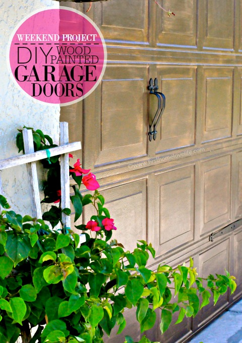 DIY WOOD PAINTED GARAGE DOORS via www.firsthomelovelife.com