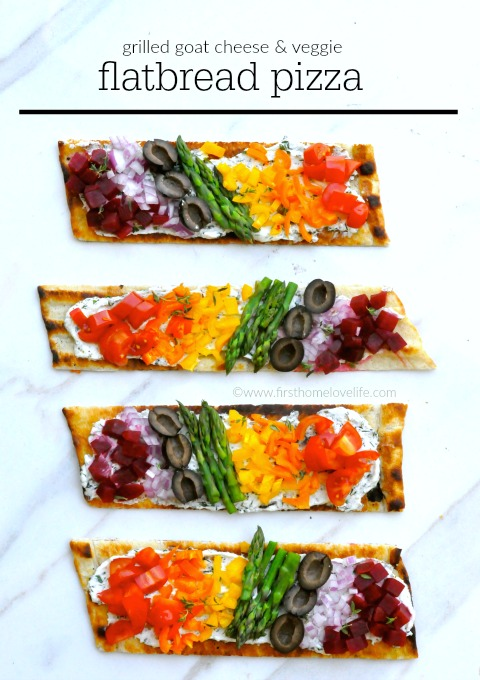 Grilled Goat Cheese and Rainbow Veggie Flatbread Pizza! Look at all those beautiful colors! via www.firsthomelovelife.com