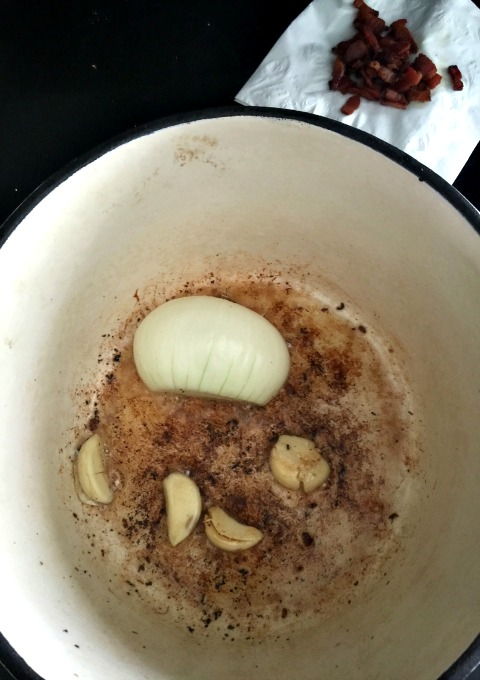 garlic and onion in bacon fat
