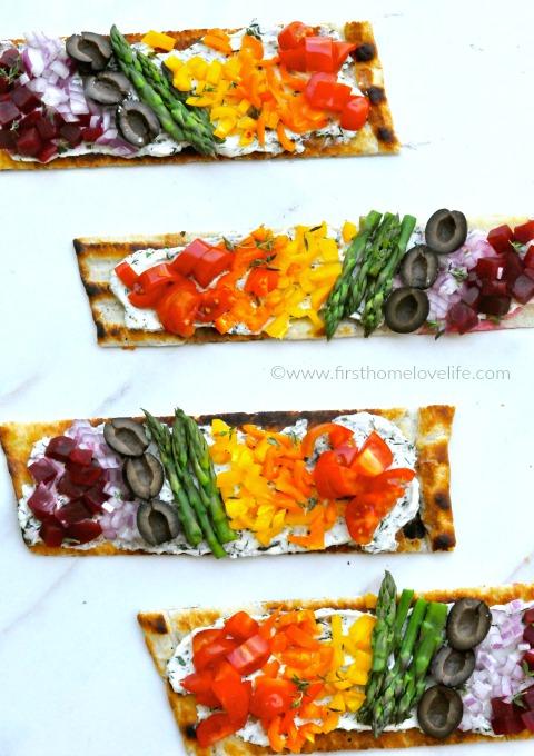 pretty rainbow veggie flatbread pizzas via www.firsthomelovelife.com