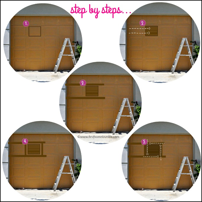 step by step instructions for wood painted garage door via www.firsthomelovelife.com