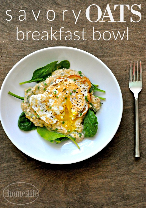 healthy breakfast idea- savory oats breakfast bowl via firsthomelovelife.com