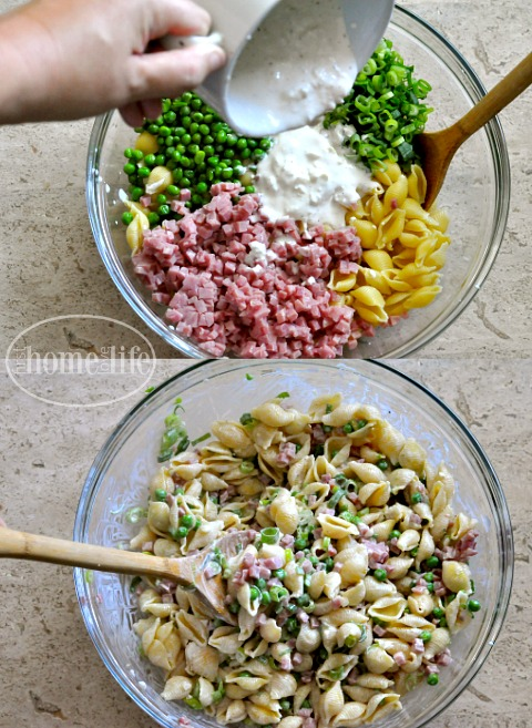 super easy and delicious ham and pea pasta via firsthomelovelife.com