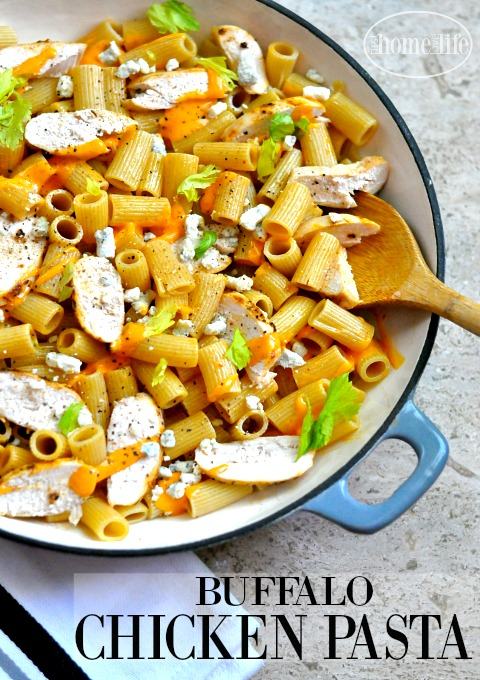 BUFFALO CHICKEN WING PASTA USING ONLY 5 INGREDIENTS VIA FIRSTHOMELOVELIFE.COM