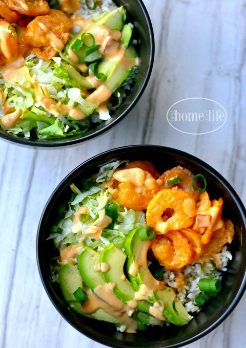 bangin good spicy shrimp bowls via firsthomelovelife.com