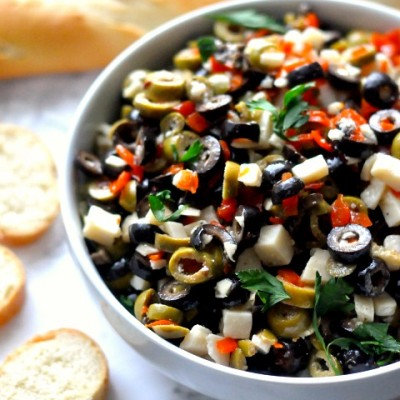 Olive and Parmesan Salad Dip with Baguette