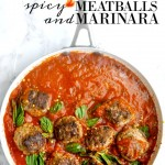 Spicy meatballs and marinara is the perfect italian recipe to go with pasta or to make meatball subs. It's even great to eat on it's own with a salad! via firsthomelovelife.com
