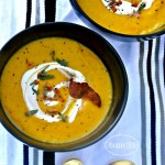 THE BEST BUTTERNUT SQUASH SOUP RECIPE. Made from scratch with bacon and sage. So delicious and perfect to serve at Thanksgiving via firsthomelovelife.com