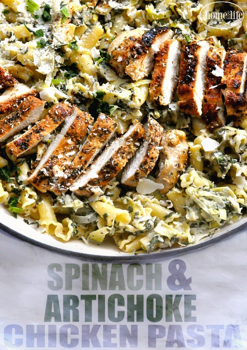 creamy-garlic-spinach-and-artichoke-chicken-pasta-via-firsthomelovelife-com