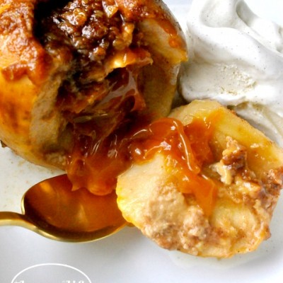 Crockpot Caramel Stuffed Apples