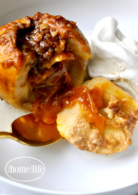 these crockpot caramel stuffed apples are the perfect fall treat! Great dessert to serve for Thanksgiving via firsthomelovelife.com