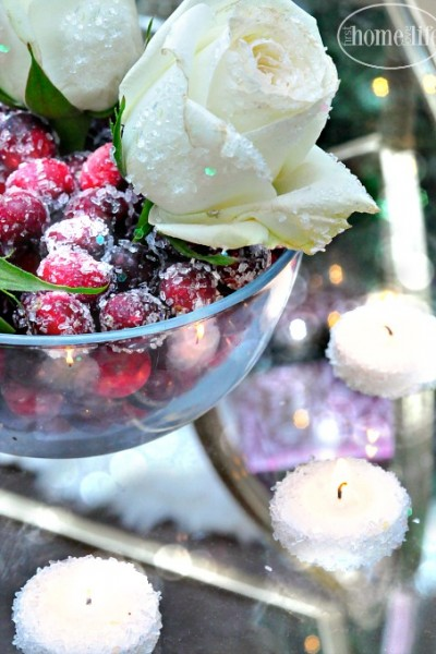 how to add faux snow onto your holiday decor- epson salt snow with glitter via firsthomelovelife.com
