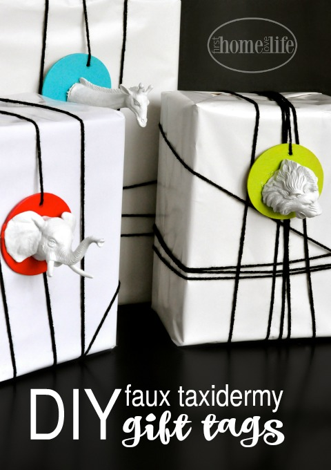 DIY faux taxidermy gift tags for the holidays via firsthomelovelife.com