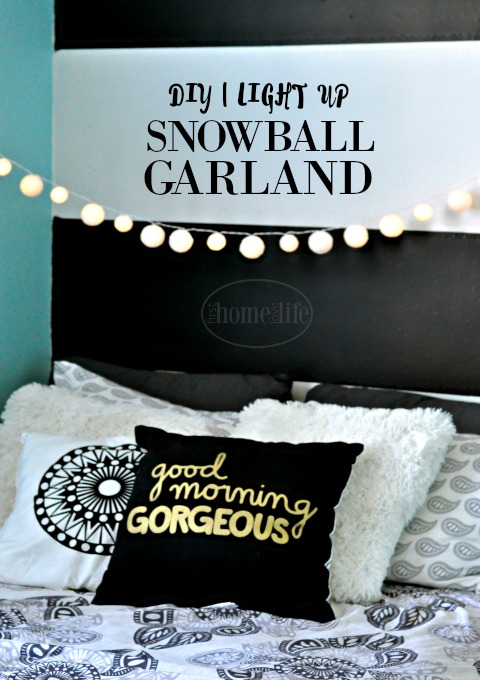 DIY snowball garlard | very PBteen | Perfect for a tween or teens room decor via firsthomelovelife.com