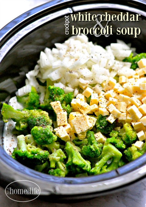 Easy slow cooker white cheddar broccoli soup via firsthomelovelife.com