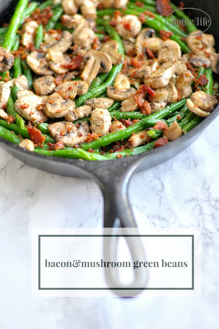 These bacon mushroom green beans are the perfect side dish to make and pair well with chicken, beef, pork or just eat it on its own via firsthomelovelife.com