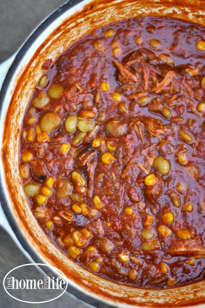 Brunswick Stew BBQ in a bowl is the perfect way to use up leftover bbq ribs, pork and chicken! Get this incredibly easy stew recipe via firsthomelovelife.com