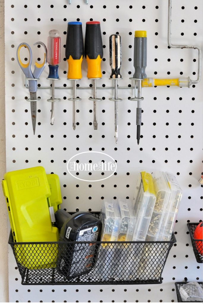 GARAGE ORGANIZATION IDEAS- CREATE A HOME IMPROVEMENT STATION IN YOUR GARAGE VIA FIRSTHOMELOVELIFE.COM