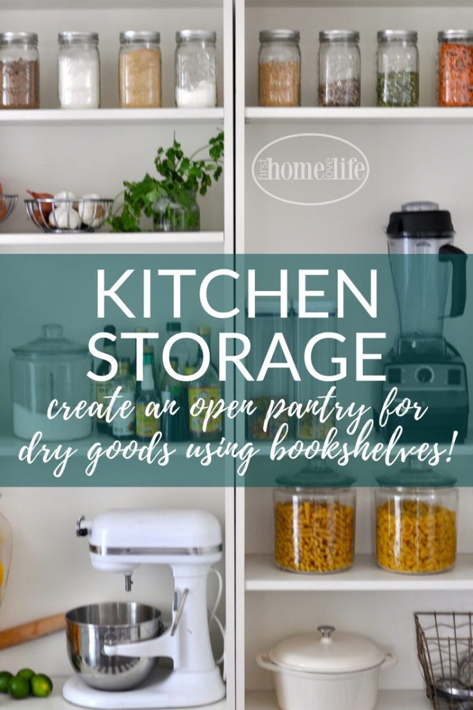 Simple kitchen storage solution| open pantry organization using IKEA Billy bookshelves via firsthomelovelife.com