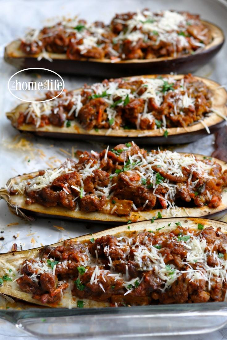 Stuffed Eggplant Parmesan Boats First Home Love Life