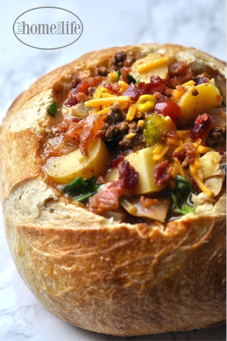 oh my gawd...this bacon cheeseburger soup is so amazing! Smokey, cheesy, meaty...it's what cheeseburger dreams are made of! via firsthomelovelife.com