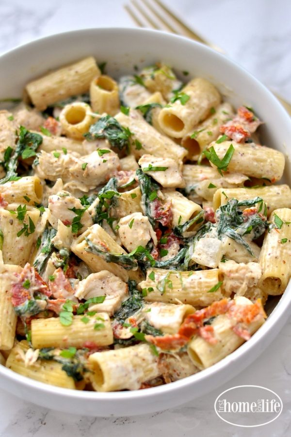 Dijon Chicken Pasta with Sun Dried Tomatoes and Spinach ...